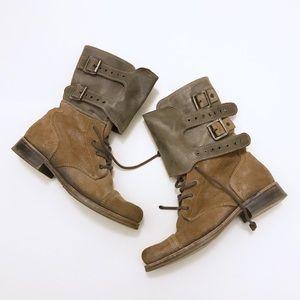 All Saints Distressed Moto Combat Boots